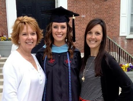 My cousin, Alyssa, center at her RU Master of Education Graduation. (That's my mom on the left and me, on the right)