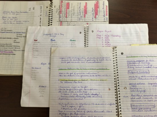 Some of my past notebooks, ranging from my first year in the classroom to last year.