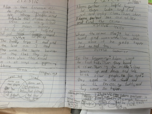 Starting in the middle of the left page, this student did six separate thinking strategies (all dated 2/24/16). She wrote about book similarities, created a comparison Venn diagram, described a secondary character, named out how a character changed, summarized, and created a character web and attempted to include text evidence.