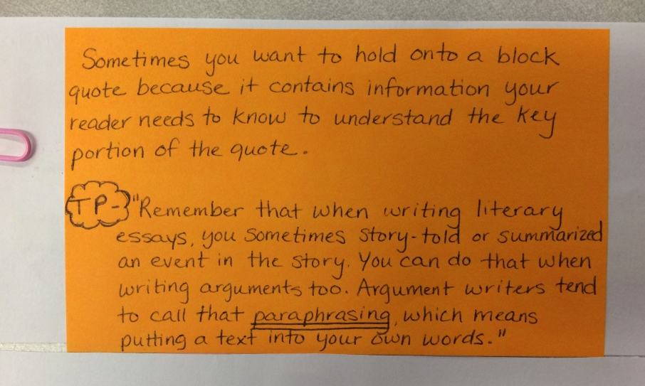 Teaching Point-Trimming Down Quotes- Paraphrase