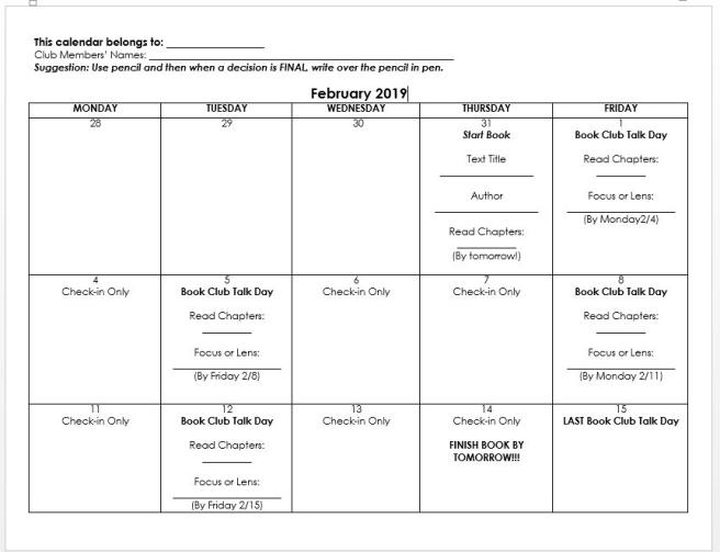 Book Club Calendar